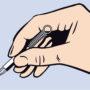 ティックピッカーを親指と人差し指で図のように持ちます。