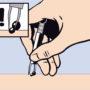 先を広げた状態でマダニに近づきシリンダーを下げるとマダニを挟むことができます。